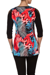 Women's Black mesh And Coral Tunic - Yvonne Marie