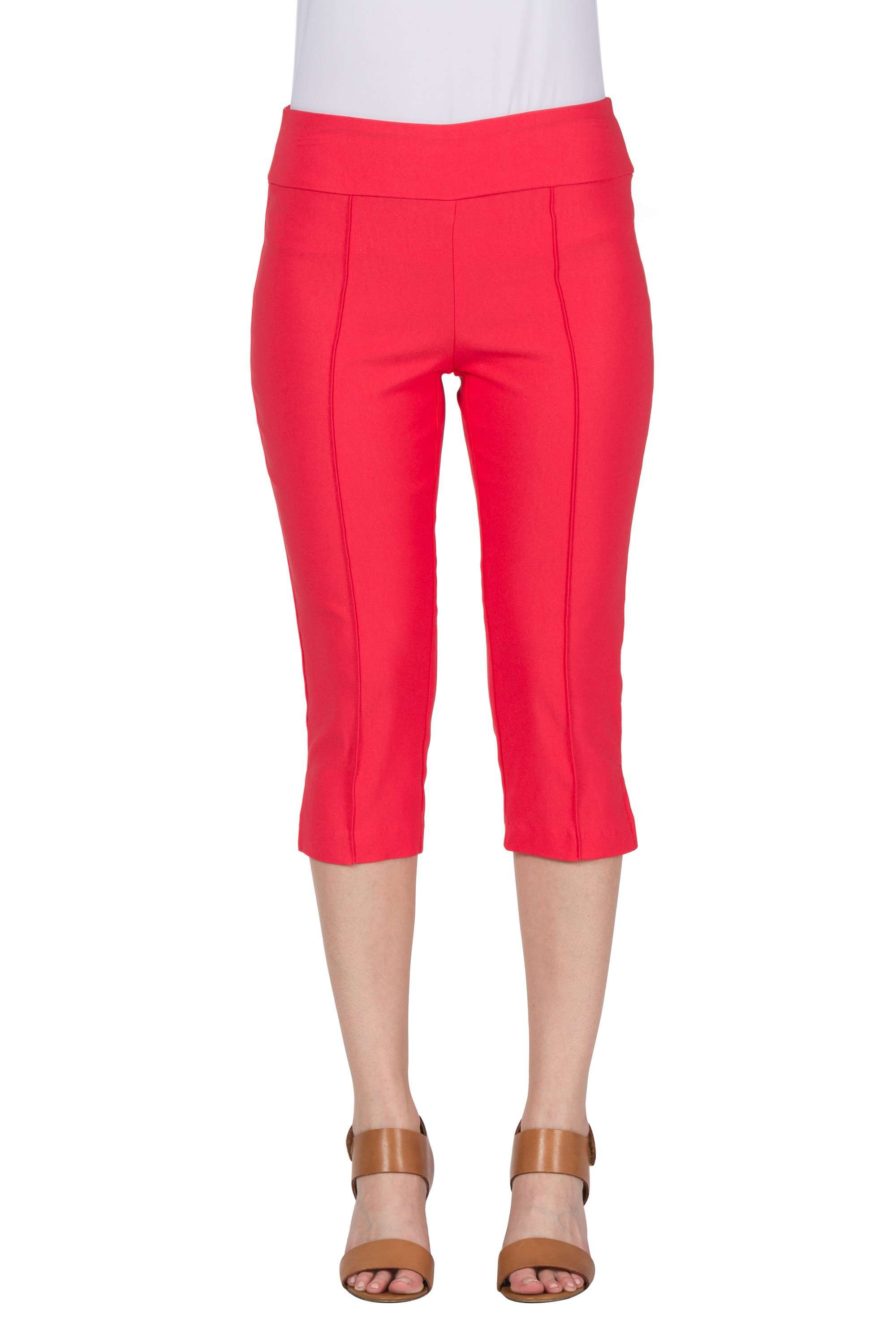 Coral Capri Pants Stretch Fabric-Quality and Comfort -Made in Canada - Yvonne Marie