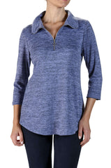 Top Soft Sweater Knit Denim Blue with Zipper Neck Collar-Super Comfort and Quality - Yvonne Marie