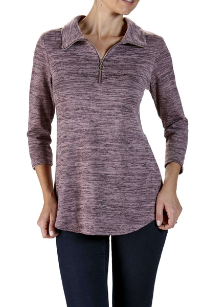 Sweater Rose Soft Cozy Knit Fabric Zipper Neckline Now 50% off