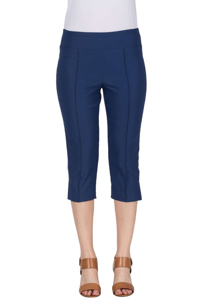 Denim Blue Capri Pants Stretch Fabric Flat Front Outstanding Fit and Comfort-Best Seller for 5 Years