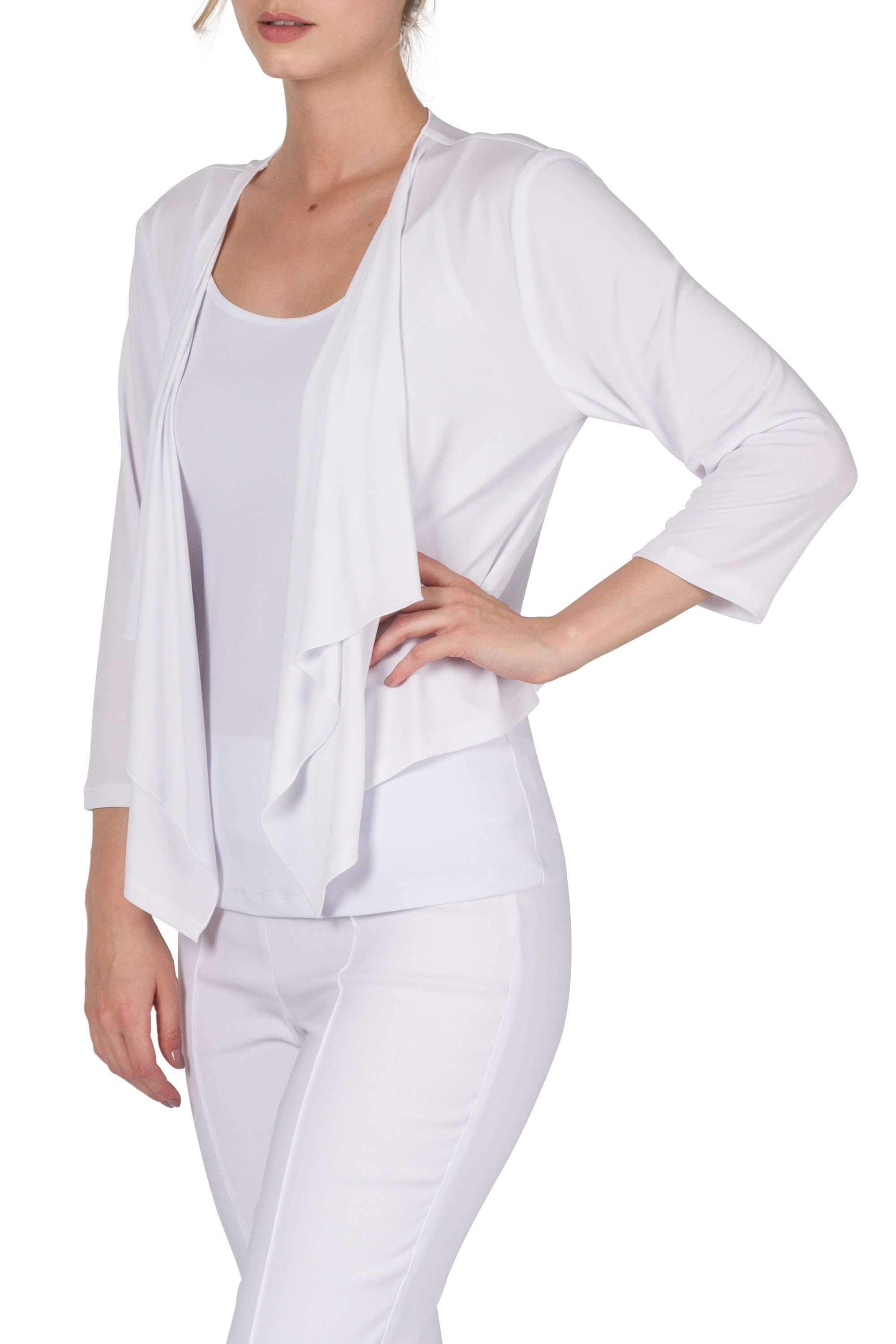 White Bolero Jacket in Quality Stretch Knit Fabric Made in Canada - Yvonne Marie