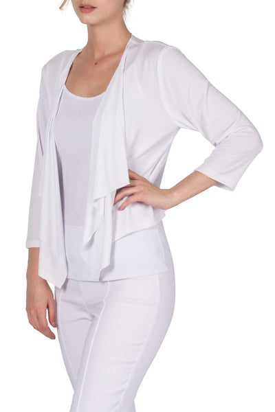 White Bolero Jacket in Quality Stretch Knit Fabric Made in Canada