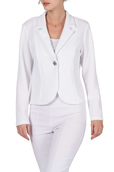 Jacket White in Soft Stretch Textured Knit Travel Friendly-Made in Canada