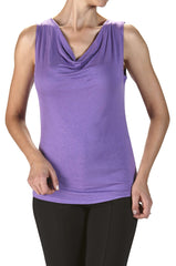 Women's Draped Neck Top Lilac - On Sale - Made in Canada - Yvonne Marie - Yvonne Marie