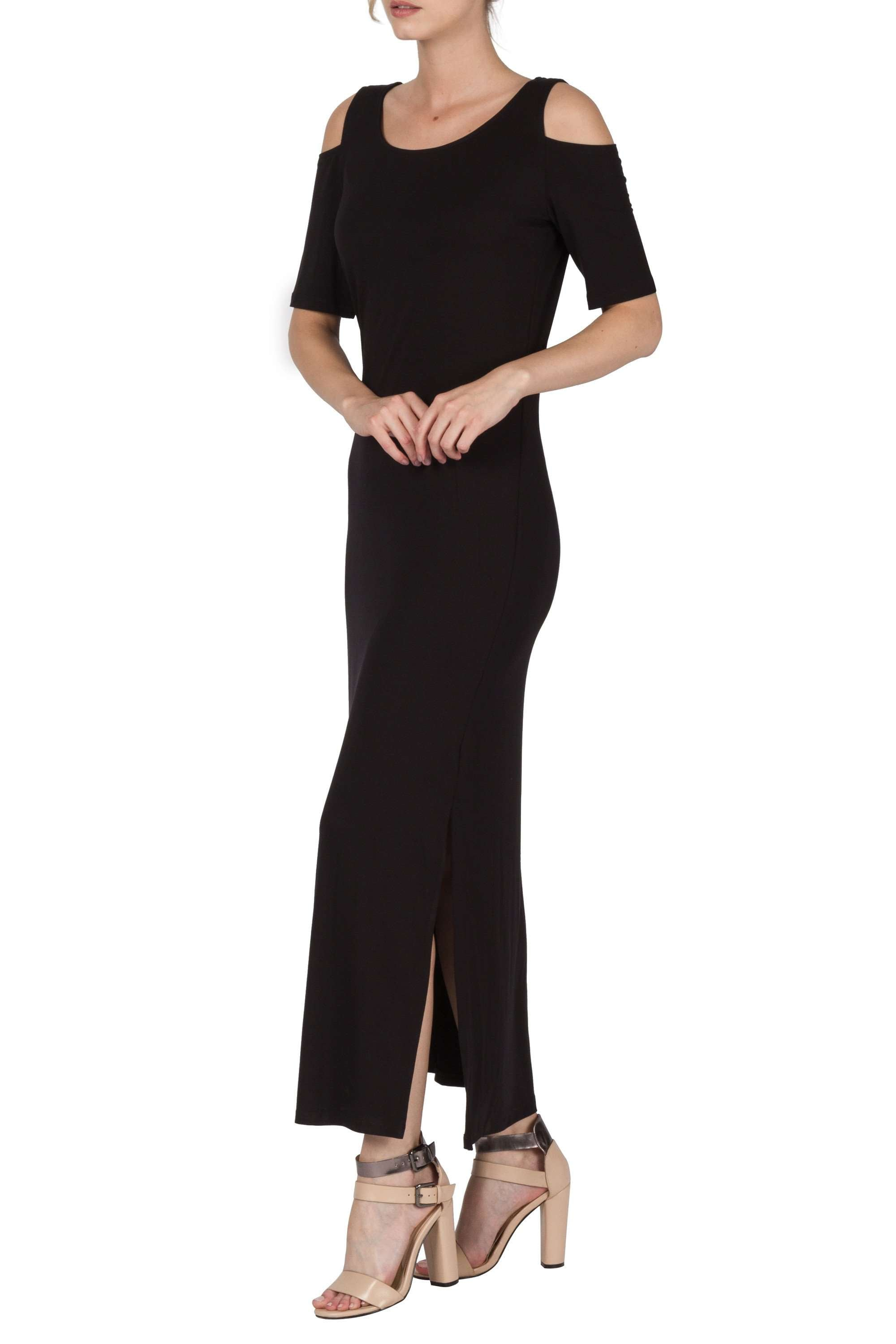 Maxi Dress Black Features Cold Shoulder Detail and Great Fit On Sale Now - Yvonne Marie