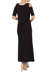 Black Long Maxi Dress-Our best Seller-Quality Soft Knit Fabric-Made in Montreal Canada - Yvonne Marie