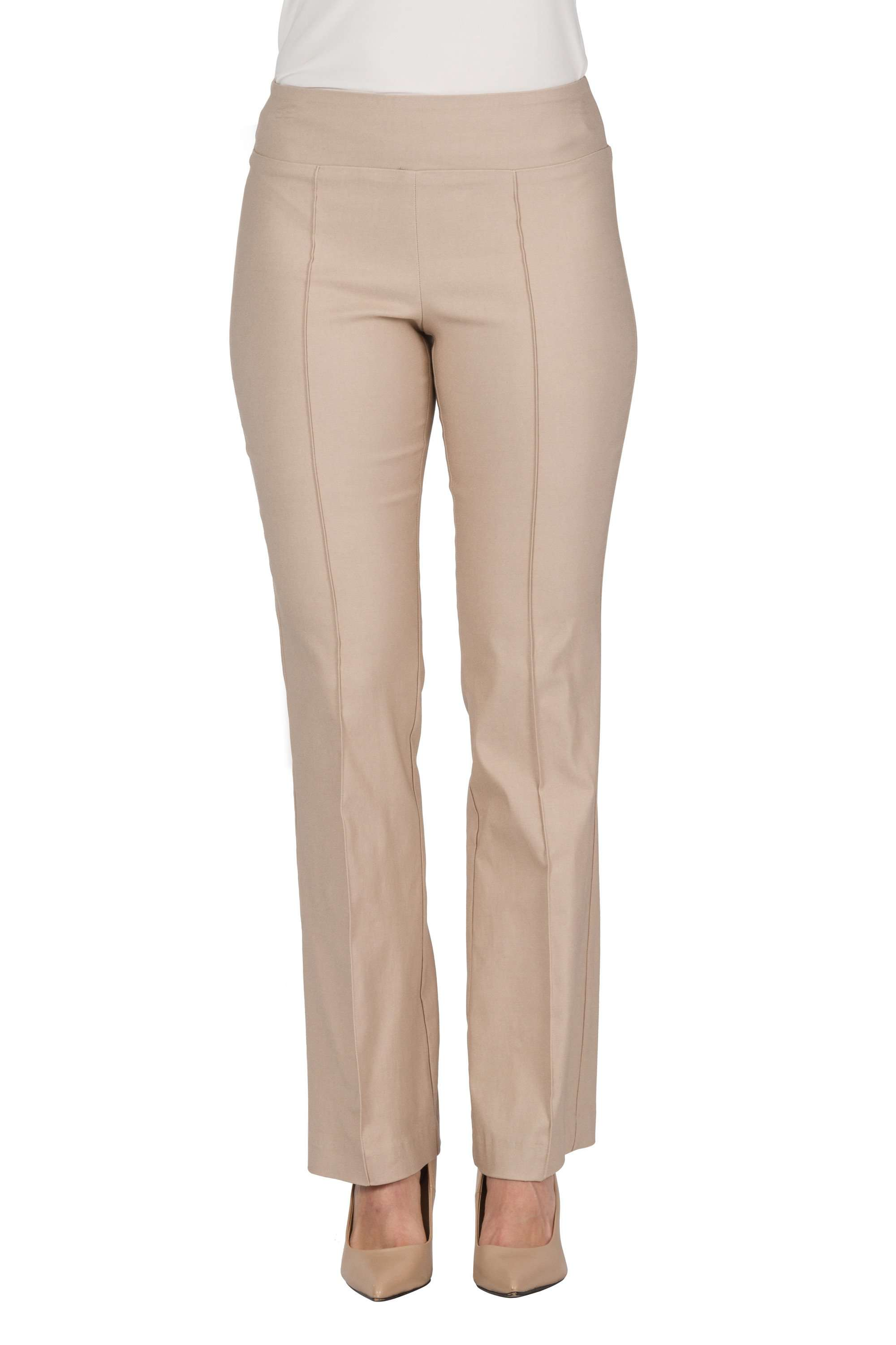 Women's Tan Miracle Fit Stretch Pants - Yvonne Marie