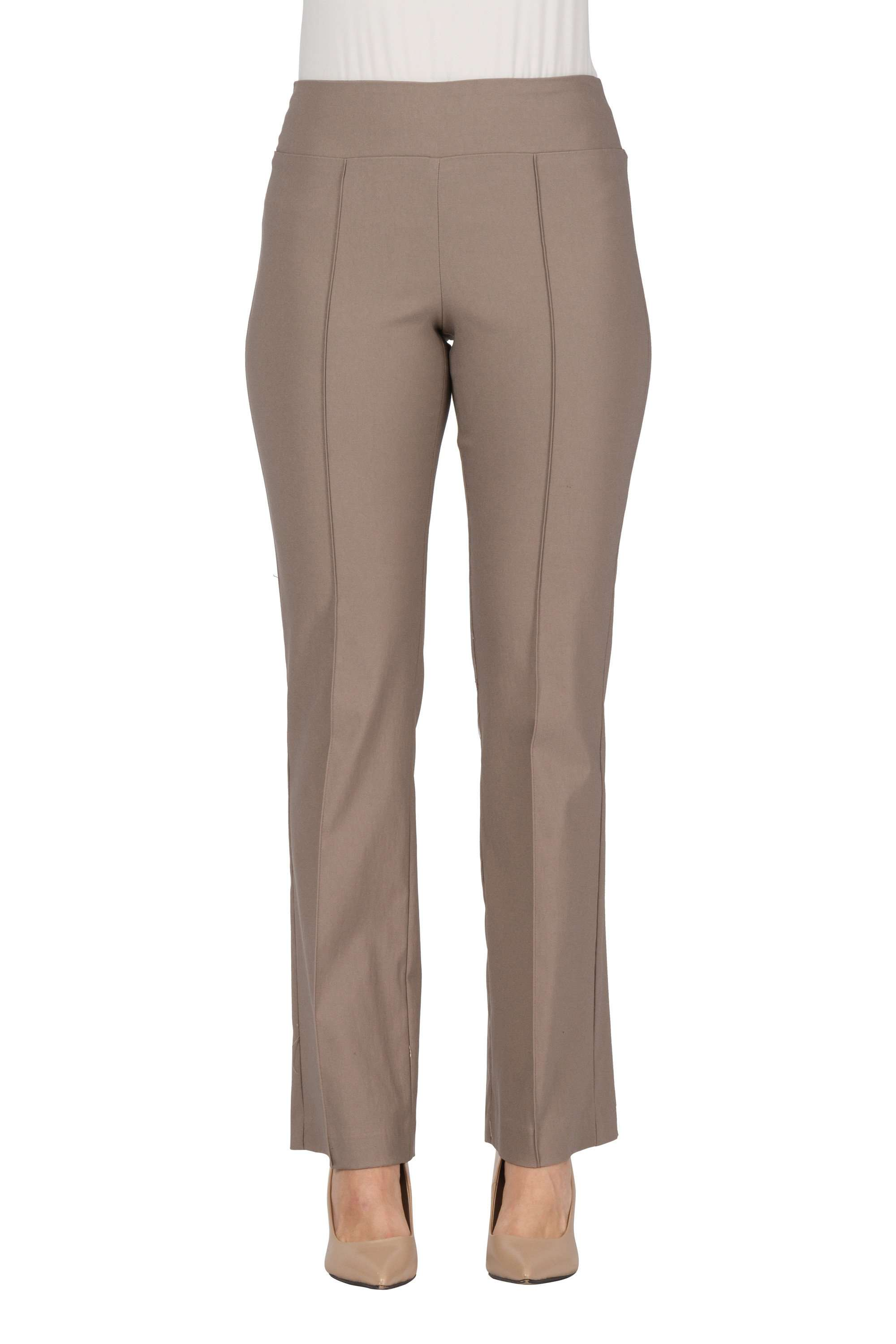 Women's Taupe Stretch Pants - Our Miracle Fit - Yvonne Marie - Yvonne Marie