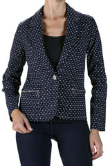 Blazer Jacket in Navy with Small Dots and Real Zipper Pockets - Yvonne Marie