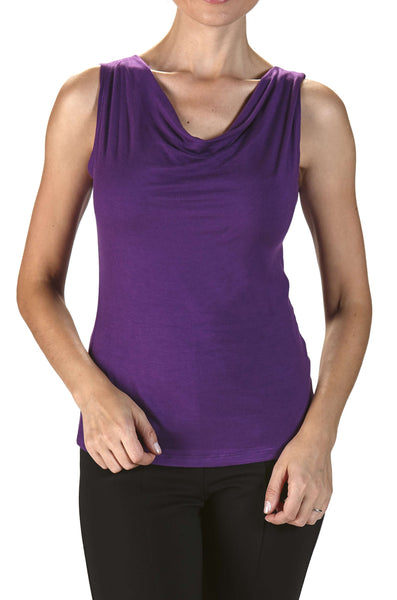 Women's Tank Top Violet Draped Neck On Sale - Made in Canada