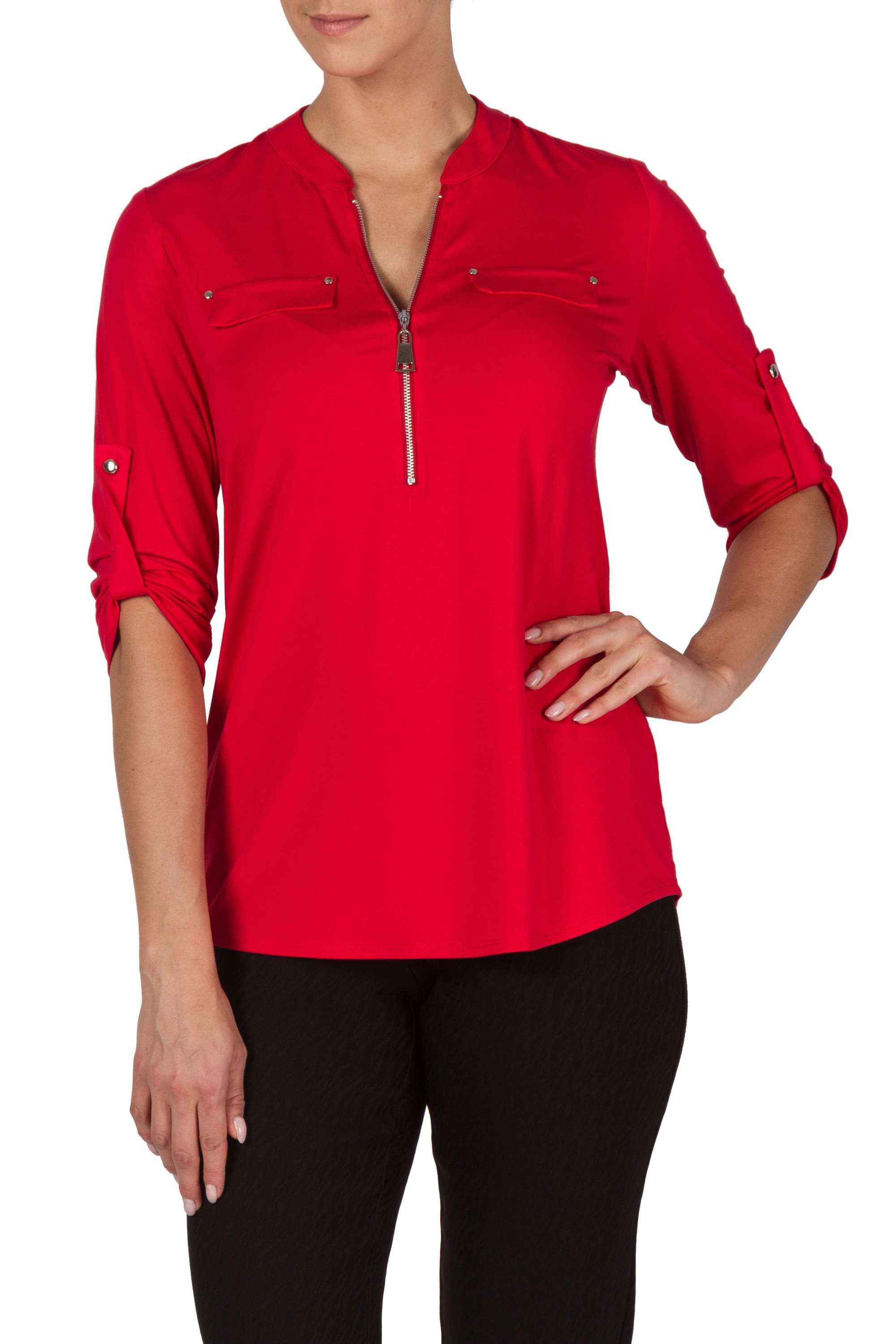 Red Blouse in Soft Quality Knit Zipper Front Detail Quality and Comfort - Yvonne Marie