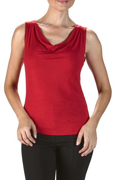 Camisole Red Draped Neckline-On Sale Now