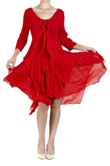Red Chiffon Dress with Hanky Hemline - Yvonne Marie