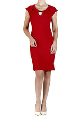 Red Dress with Peek-a-boo Neckline - Yvonne Marie