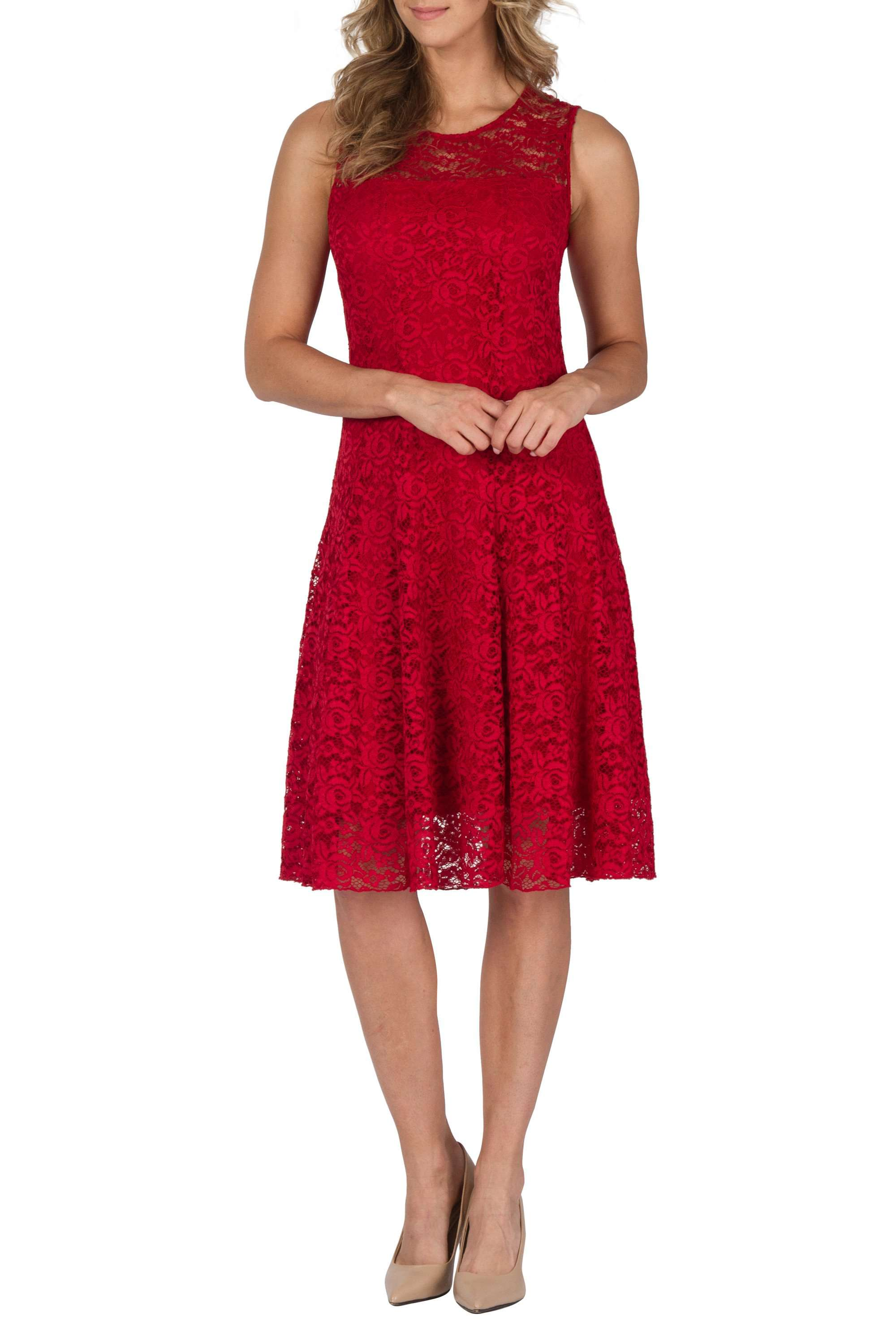 Women's Dress Red Lace Flattering Fit - Made in Canada - Yvonne Marie - Yvonne Marie