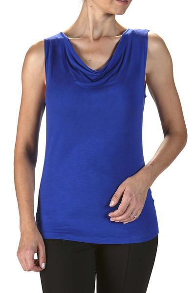 Women's Tops On Sale Royal Blue Draped Neckline - Made in Canada
