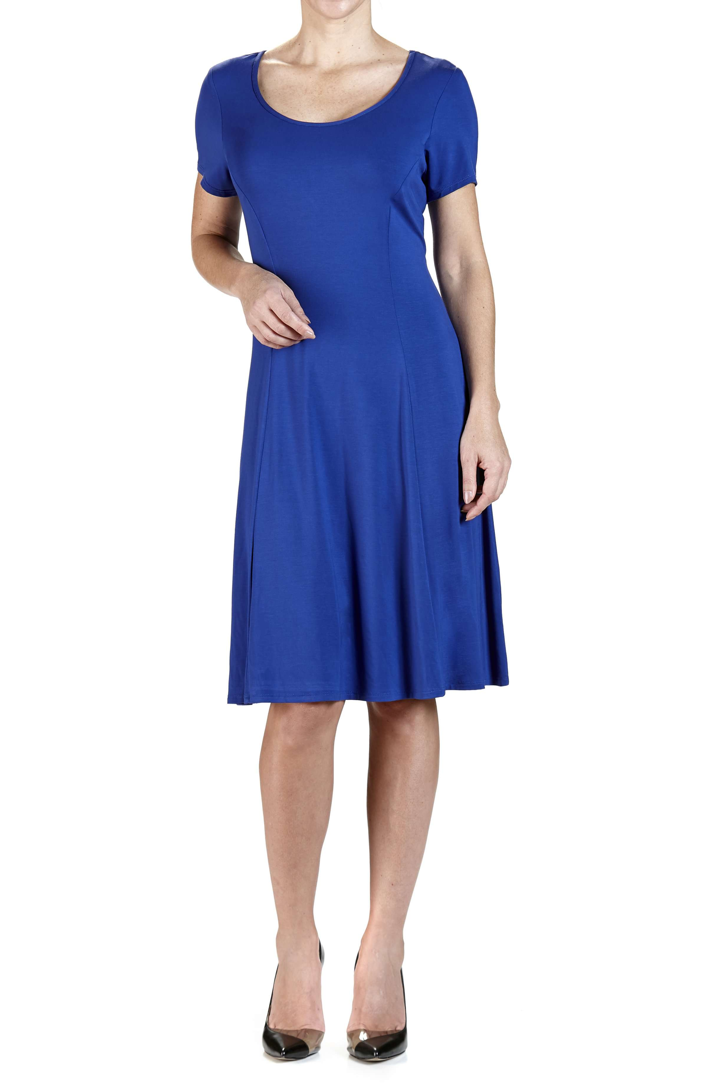 Dress Royal Blue Quality knit Fabric-Flattering Design - Yvonne Marie