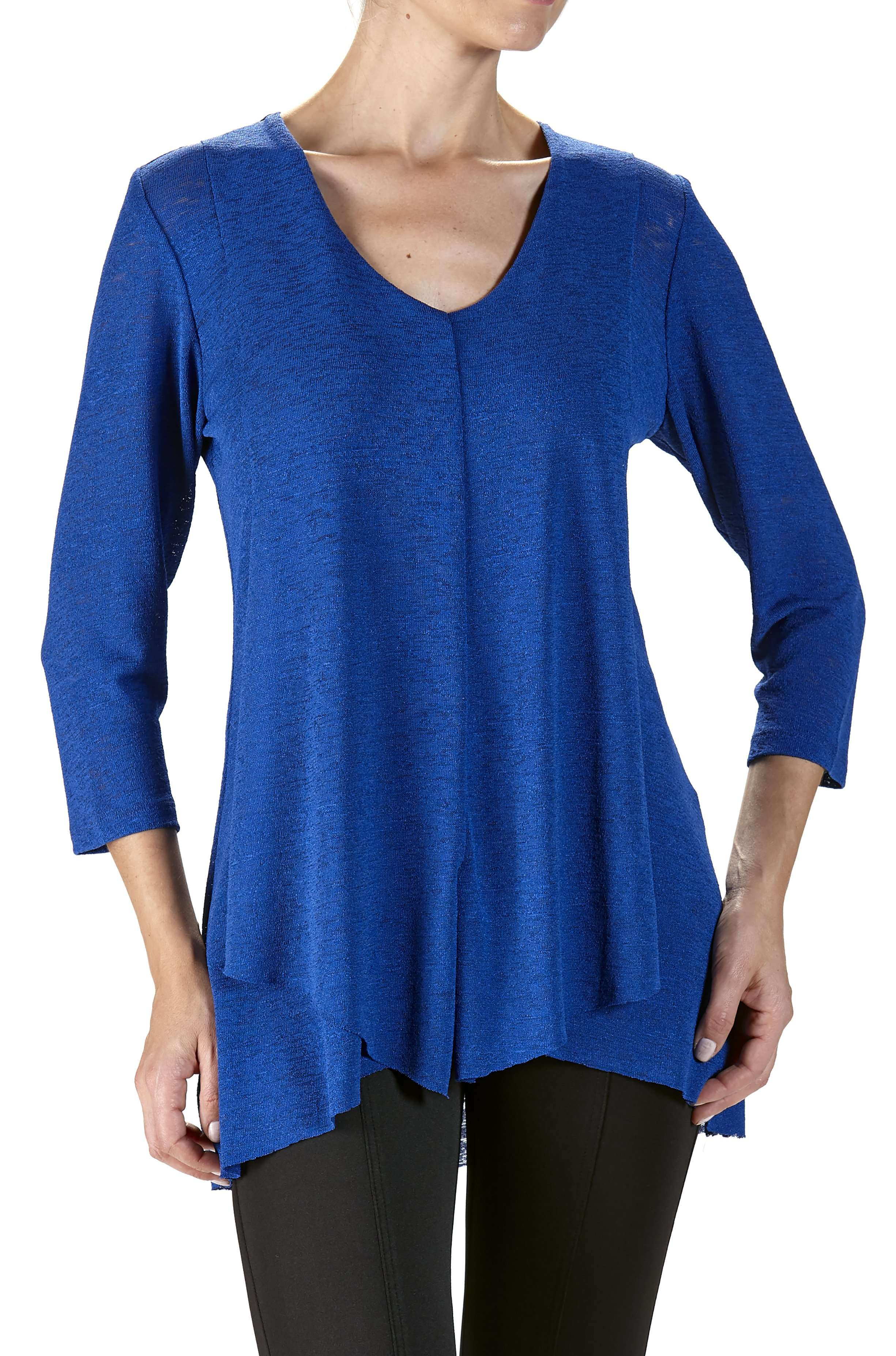 Royal Blue Tunic Top with Front Layers - Yvonne Marie