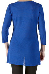 Royal Blue Tunic Top with Front Layers-Slimming Design Our Best Seller-Order Now - Yvonne Marie