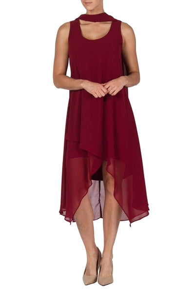 Dress Red Scarlet Chiffon Special Occasion Dress-Designed y Yvonne Marie Made in Canada