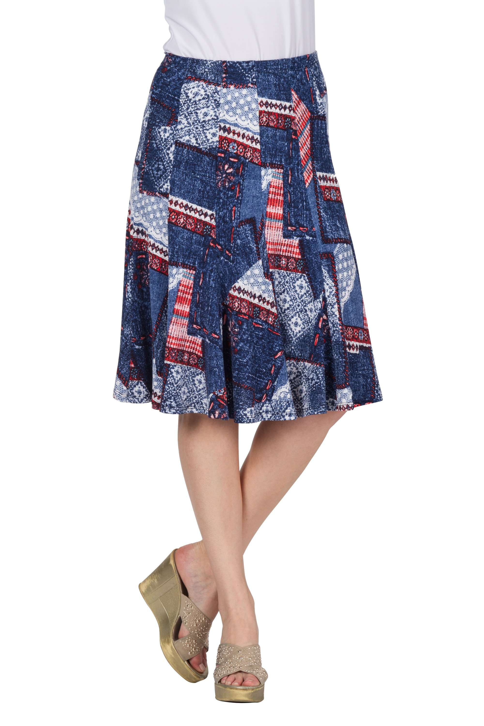 Skirt Denim Print Quality Knit Fabric Made in Canada - Yvonne Marie