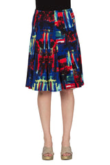Skirt in Multi Color Black/Red/Royal Easy to Match Print and Great Fit - Yvonne Marie