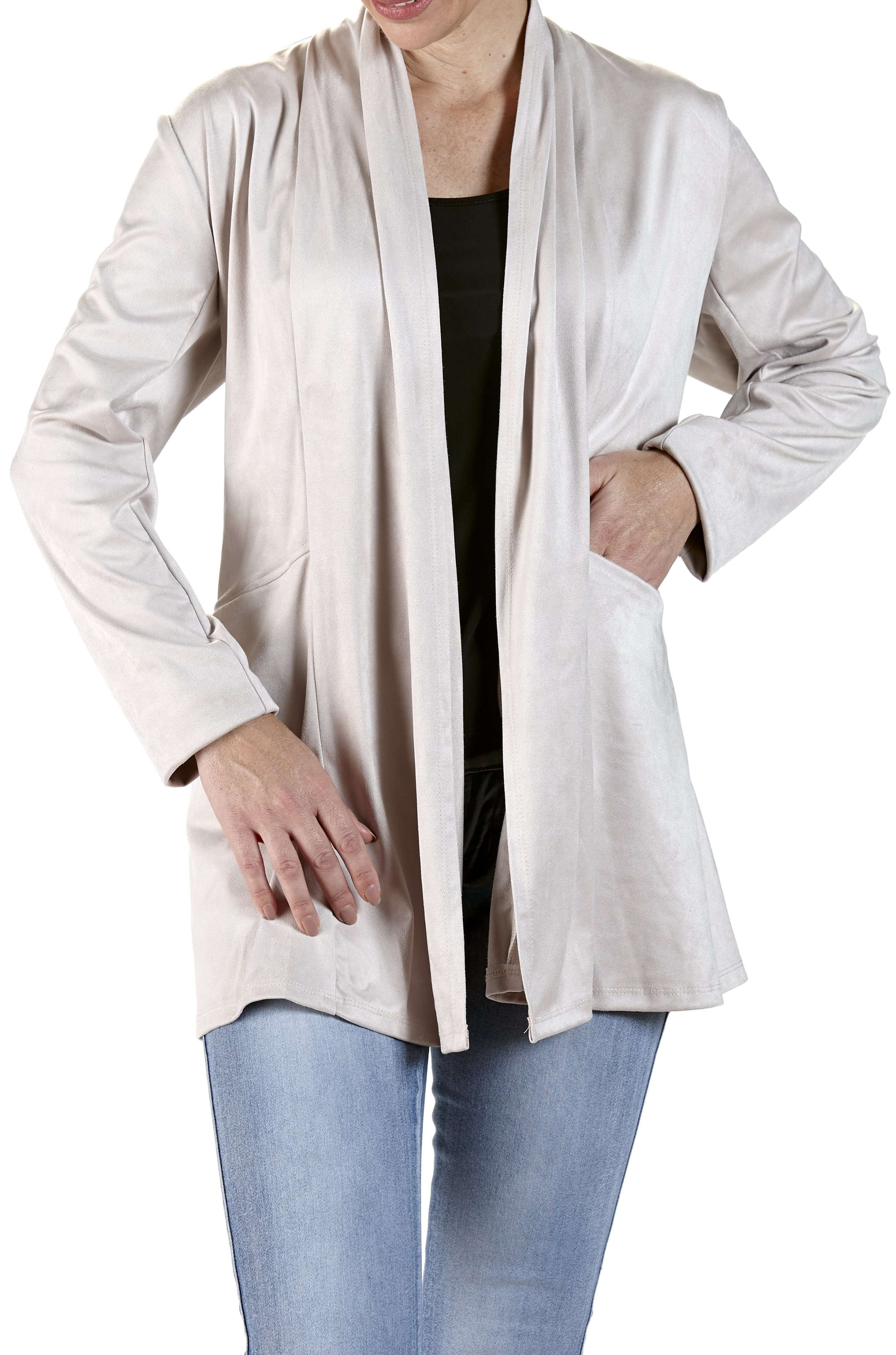 Suede Jacket in Tan Color Washable Super Comfort with Nice Deep Pockets - Yvonne Marie
