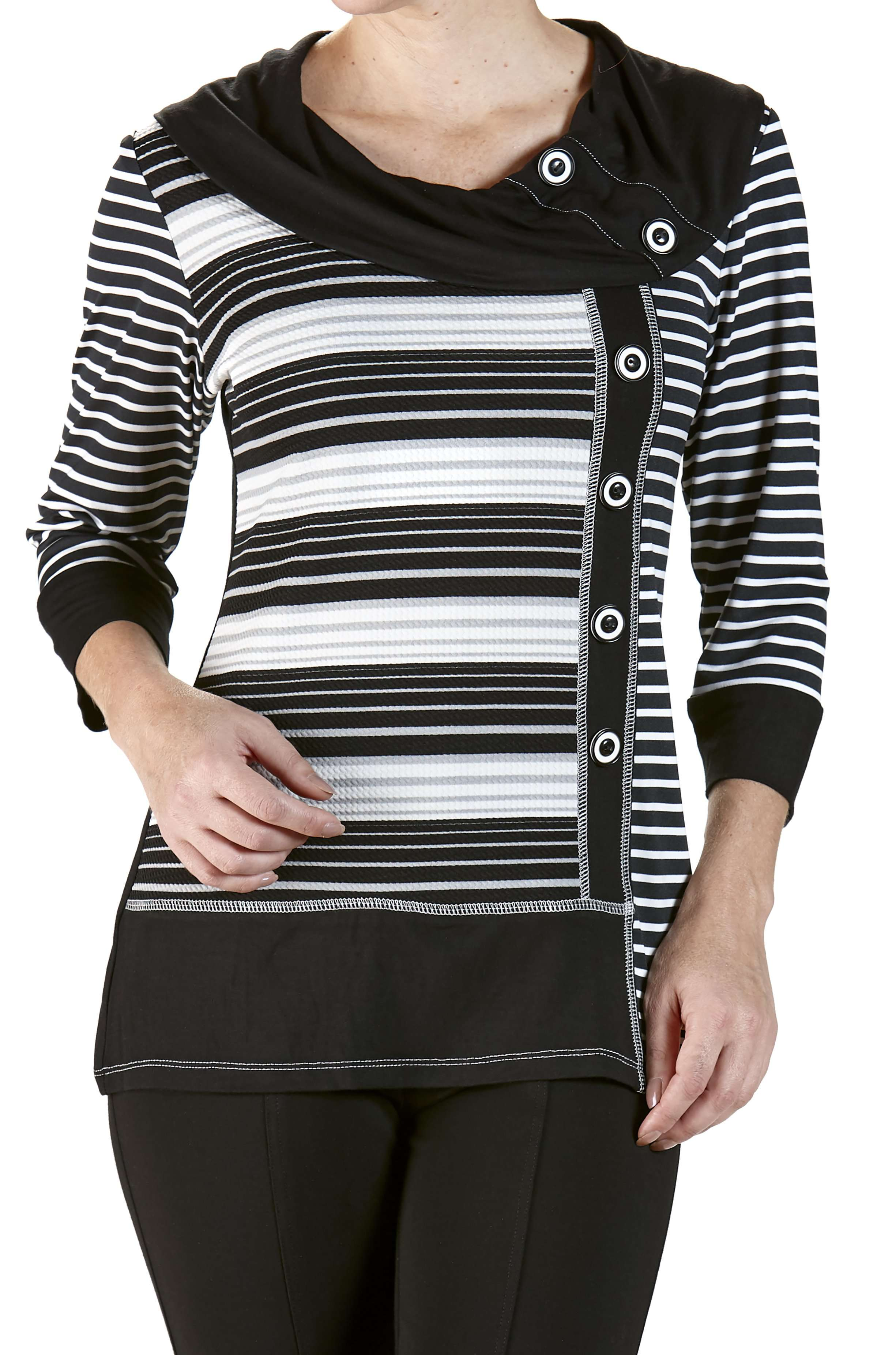 Sweater Knit Top Black and Grey Stripes - Yvonne Marie