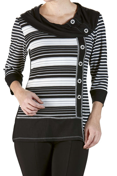 Sweater Knit Top Black and Grey Stripes