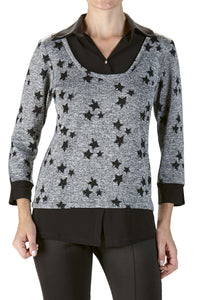 Women's Grey and Black Blouse - Yvonne Marie - Yvonne Marie