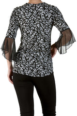 Sexy Top with Bell Sleeve and Cut Out Neckline-Quality and Comfort-Made in Canada - Yvonne Marie