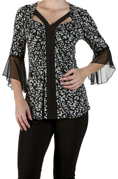 Top with Bell Sleeve  Black And Grey