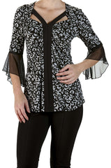 Top with Bell Sleeve  Black And Grey - Yvonne Marie