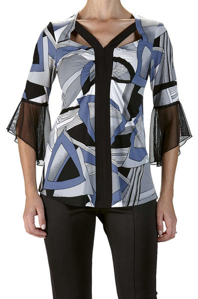 Fashion Top On Trend Blue Geo Print with Black Bell Sleeves
