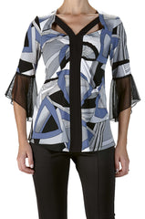 Women's Denim Blue Geo Print Top - Yvonne Marie