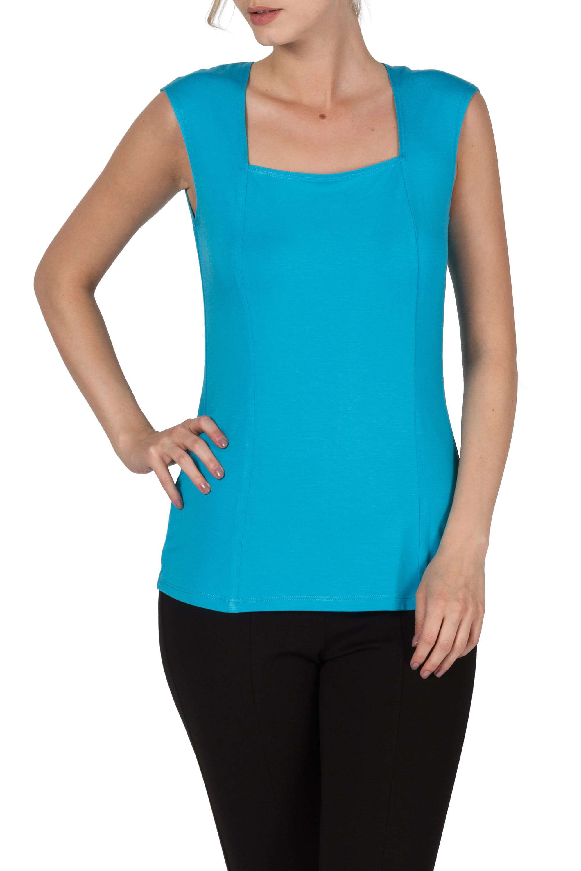 Camisole Turquoise Square Neckline Design-Perfect For Layering and Travel - Yvonne Marie