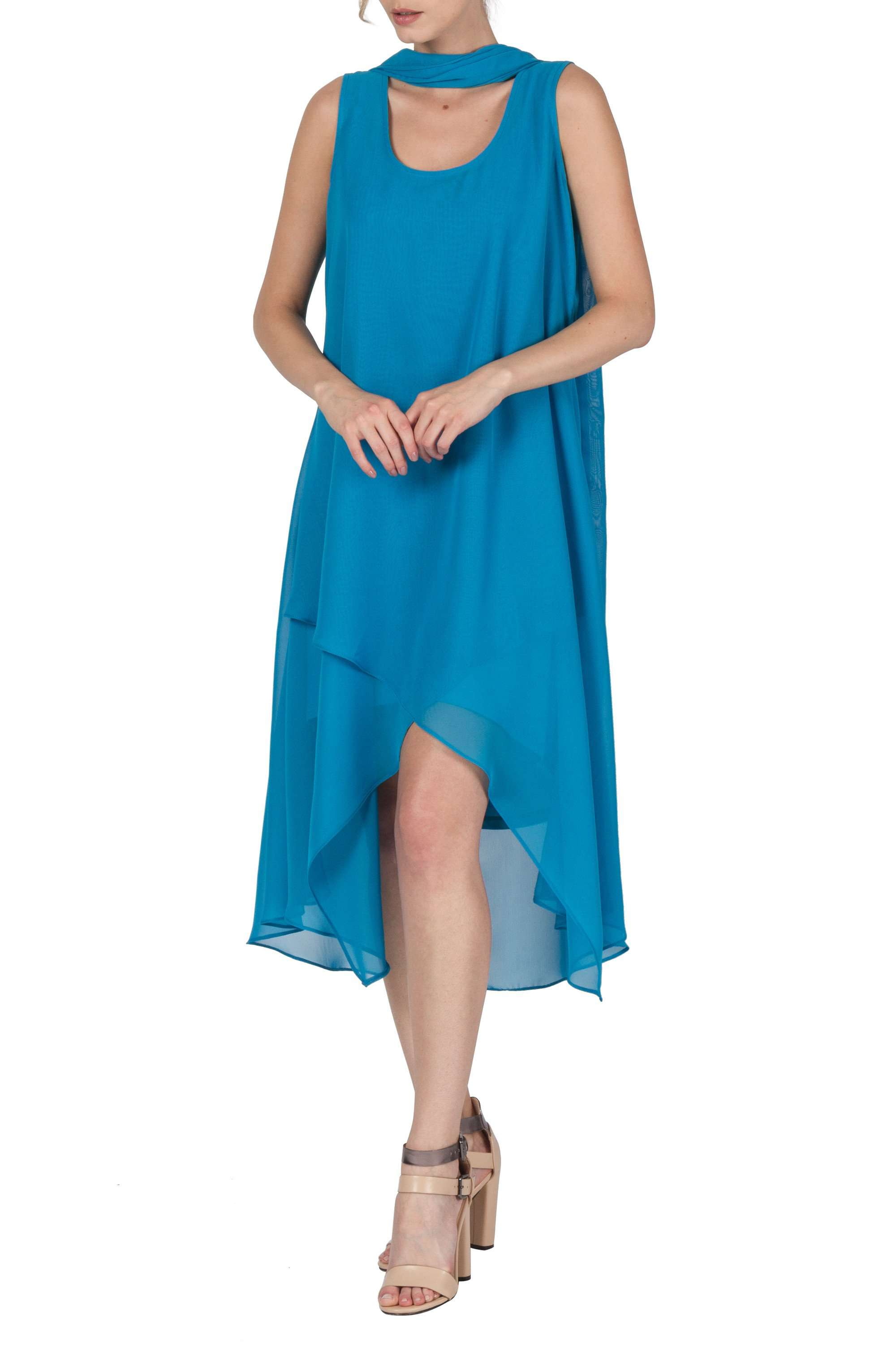 Women's Turquoise Chiffon Dress - Made in Canada - Yvonne Marie