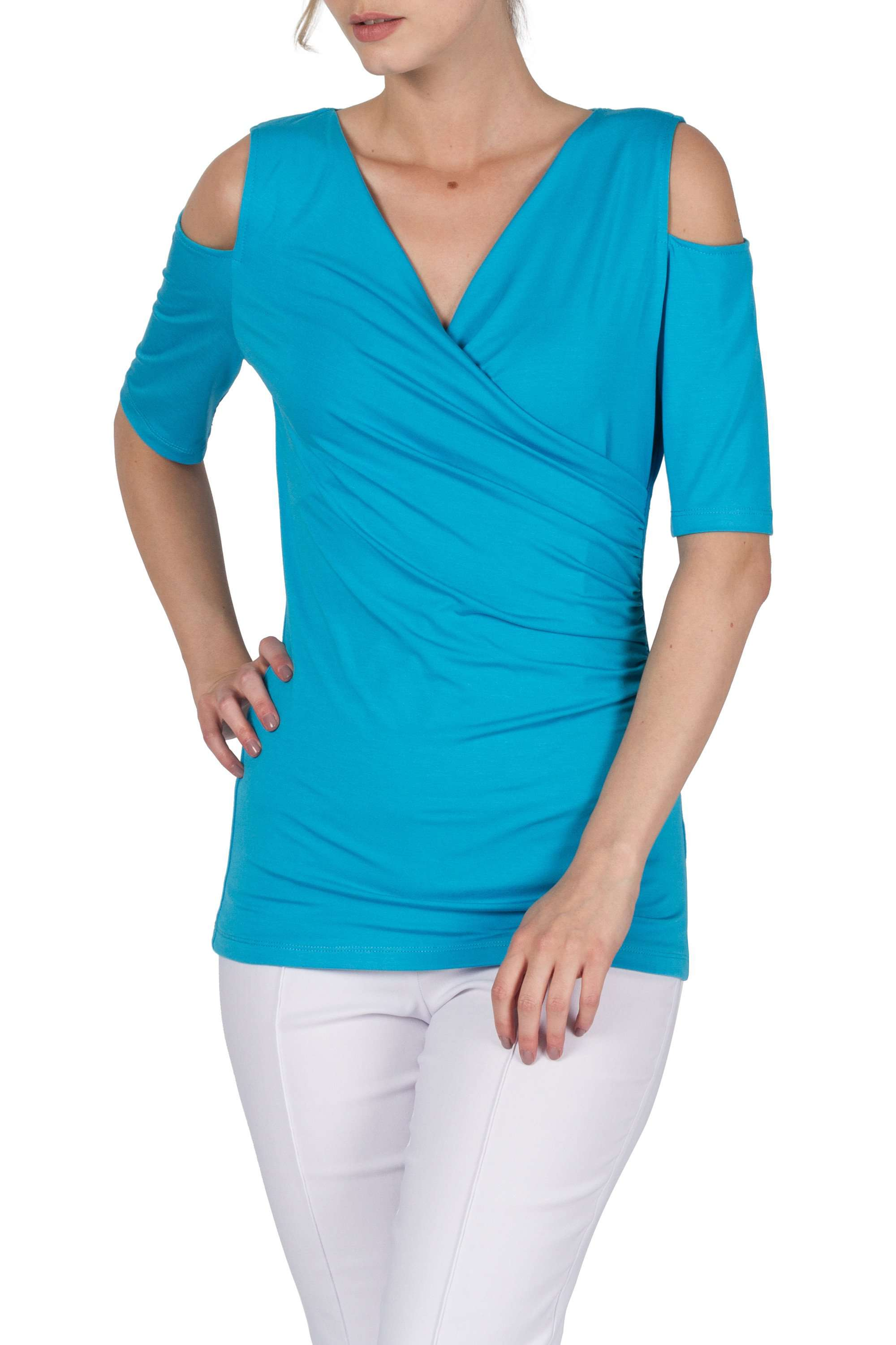 Turquoise Open Shoulder Top-Made In Canada-Designed By Yvonne Marie-Quality Fabric and Fit - Yvonne Marie