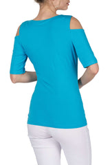 Turquoise Open Shoulder Top
