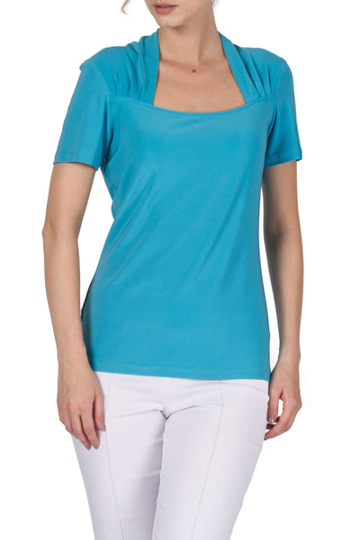 Turquoise Top With Sweetheart Neckline