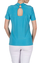 Women's Turquoise Top On Sale Short Sleeve with Back Opening - Yvonne Marie - Yvonne Marie