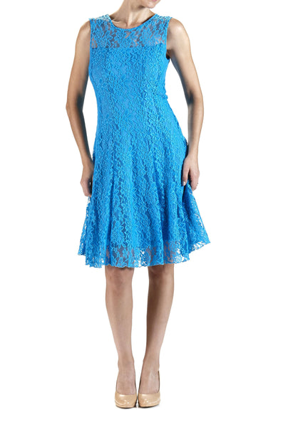 Dress Turquoise Lace -Quality and Comfort-Designed By Yvonne Marie Made in Canada-Quality Guaranteed-Many Hppy Clients for Over 30 Years