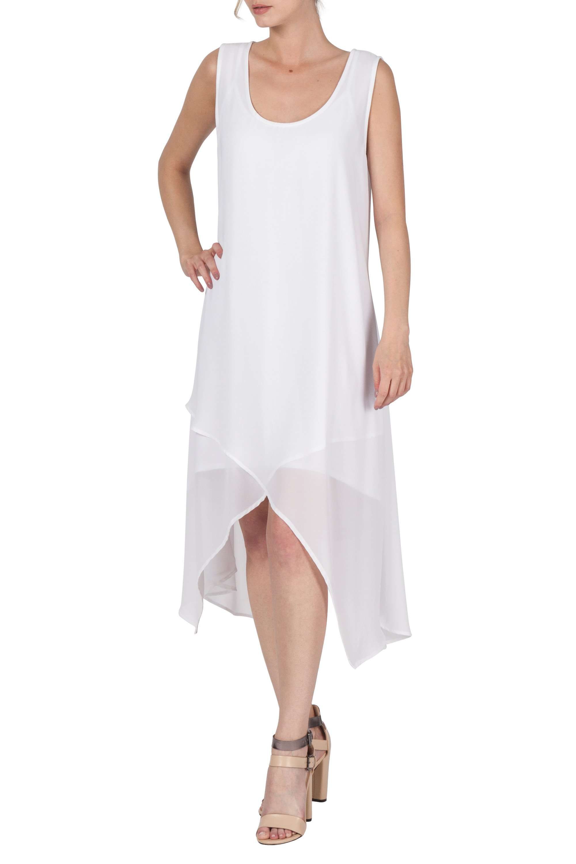 Dress White Chiffon Features 2Pc Slip and Hanky Hem Dress on Sale Now - Yvonne Marie
