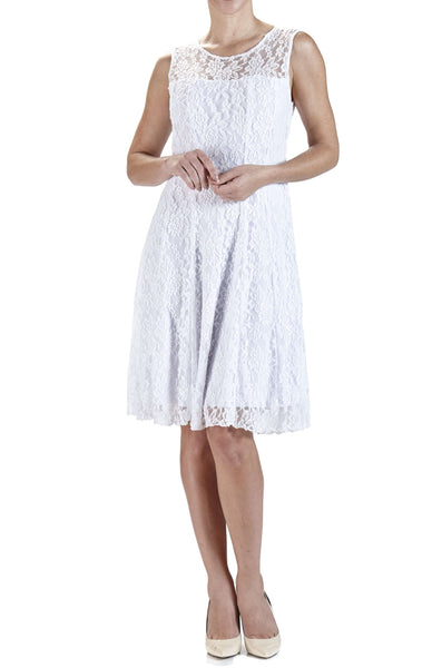 Women's Dress White Lace Flattering Fit - Made in Canada