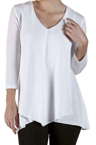 Women's White Tunic Flattering Flyaway Design - Made in Canada
