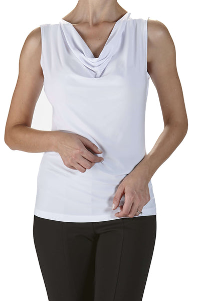 Camisole White Features Draped Neckline-Top Quality Fabric and Fit