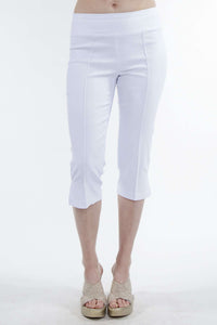 Women's White Stretch Capri - Yvonne Marie