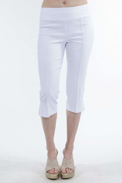 White Capri Pants for Travel and Cruise-Stretch Fabric Super Slimming Fit-Wash And Wear