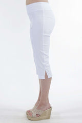 White Capri Pants for Travel and Cruise-Stretch Fabric Super Slimming Fit-Wash And Wear - Yvonne Marie